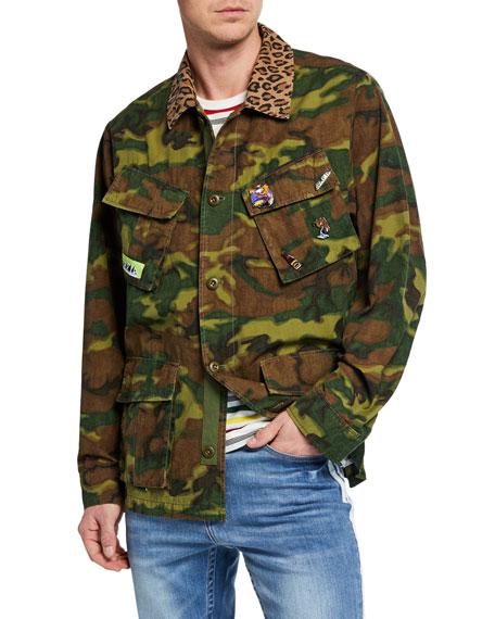 Ovadia & Sons Men's Camo Field Jacket w/ Animal-Print Trim