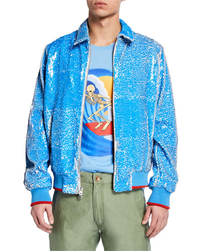 Men's x Stanley Mouse Skeleton Surfer Graphic Sequined Jacket