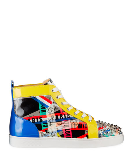Christian Louboutin Men's Lou Spikes LoubiBallage High-Top Sneakers with Spikes