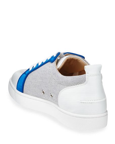 Christian Louboutin Men's Rantu Colorblock Leather Low-Top Sneakers