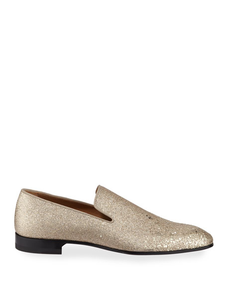 Image 3 of 5: Christian Louboutin Men's Dandelion Glitter Formal Slippers