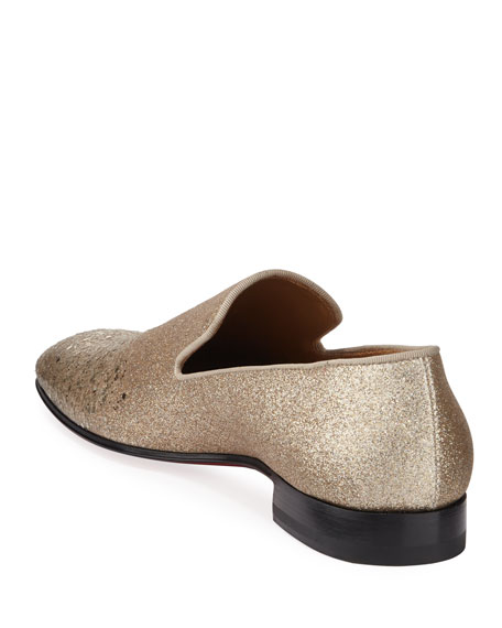 Image 4 of 5: Christian Louboutin Men's Dandelion Glitter Formal Slippers