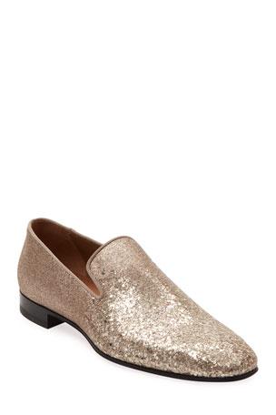 Christian Louboutin Men's Dandelion Glitter Formal Slippers