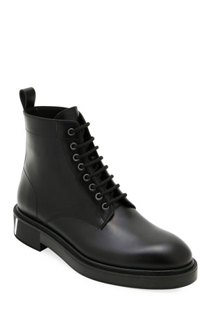 Valentino Garavani Men's Leather Lace-Up Boots
