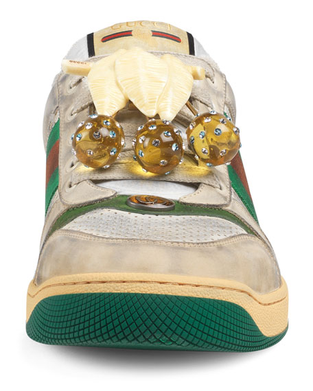 Gucci Screener Cherry-Embellished Leather Sneakers In White