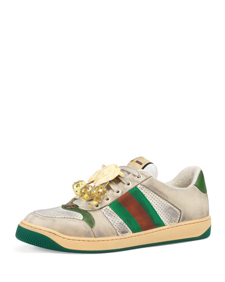 42b2cba4b72 Gucci Multicolor Sneakers Screener In Leather With Web Tape In Neutrals