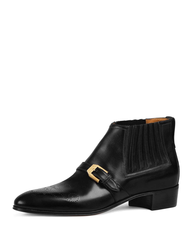 257d6e2d62f6 Gucci Men s Worsh Leather Ankle Boots
