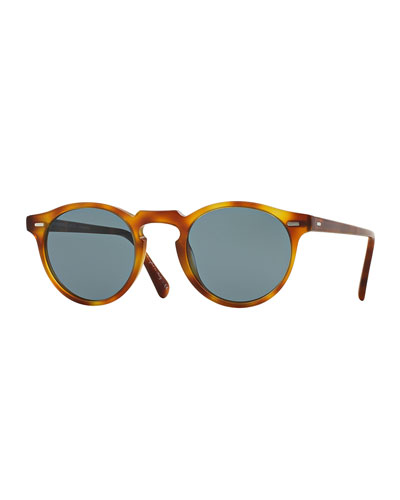 Gregory Peck Round Plastic Sunglasses  Brown/Tortoise