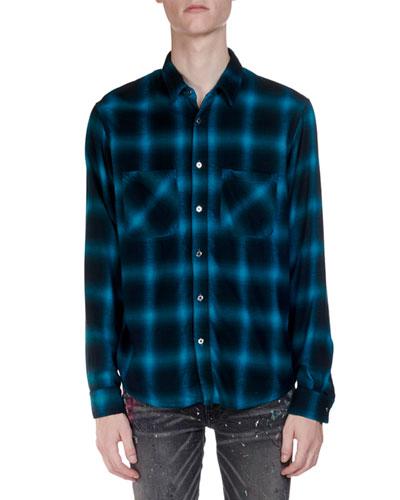 Men's Neon Highlight Plaid Flannel Shirt