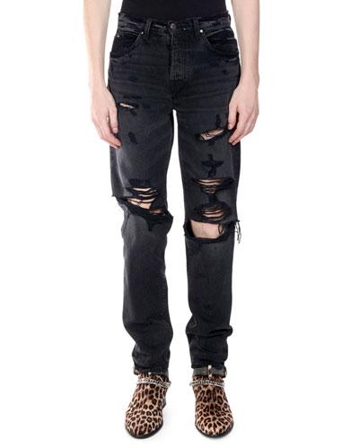 Men's Destroyed Slouch Denim Jeans
