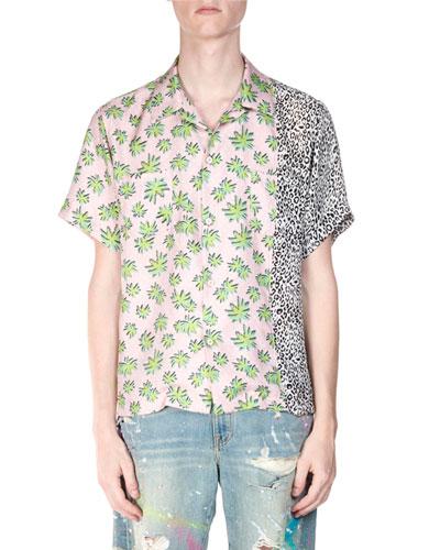 Men's Split Palm Leopard Short-Sleeve Shirt