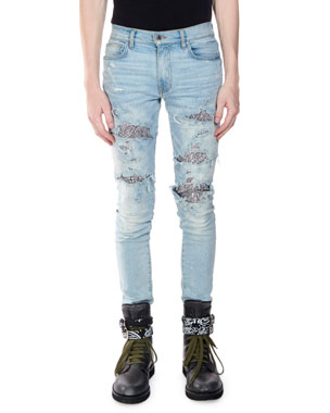 6606272dfa9b Amiri Men s Straight-Fit Sequin Zebra Denim Jeans