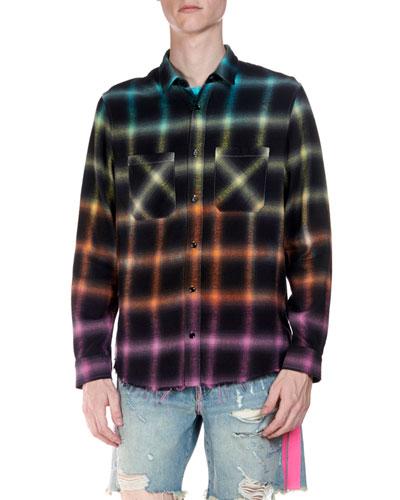 Men's Ombre Plaid Flannel Long-Sleeve Shirt