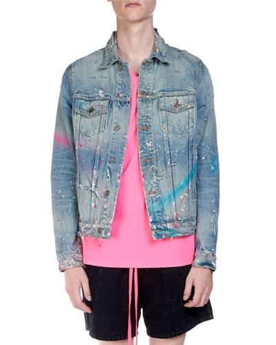 Men's Denim Graffiti Neon Trucker Jacket