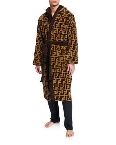 Men's Logo Jacquard Hooded Robe