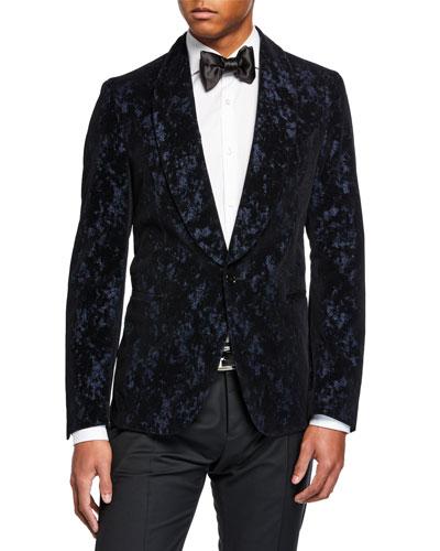 Men's Crushed Velvet Abstract Dinner Jacket