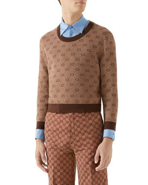 7157b010a93d3 Gucci Men s Interlocking-G Intarsia Sweater