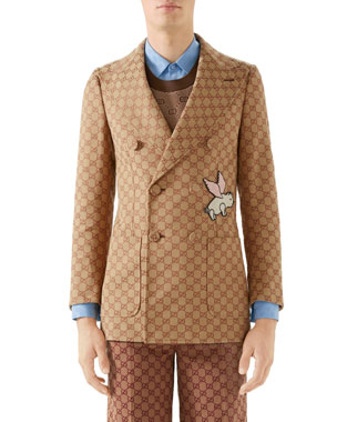 f44e9eeef912f Gucci Men s Interlocking-G Double-Breasted Jacket