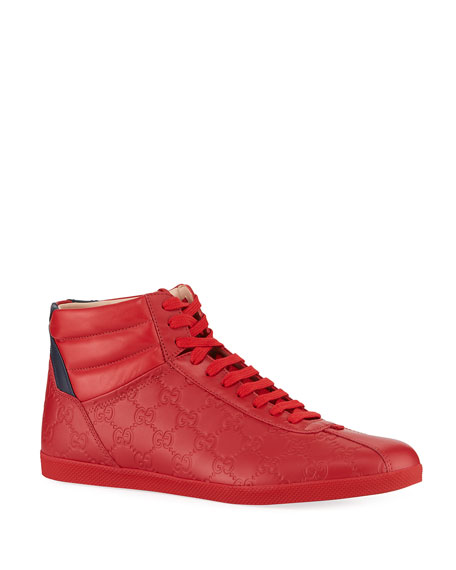 GUCCI MEN'S HIGH-TOP LEATHER SNEAKERS,PROD218580529