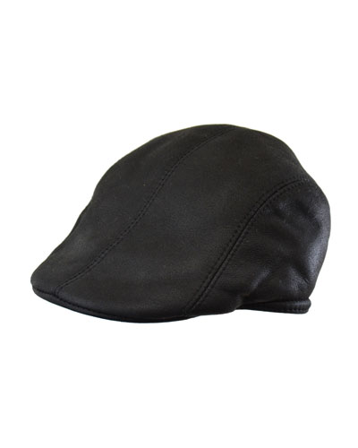 Leather Driver Hat  Black