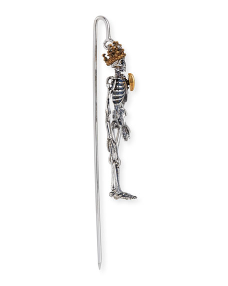 4c08e775ed5c Alexander Mcqueen Men's Queen Skeleton Lapel Pin In Gray/Yellow ...