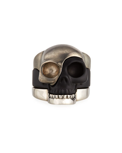 Men's Tri-Tone Divided Skull Ring