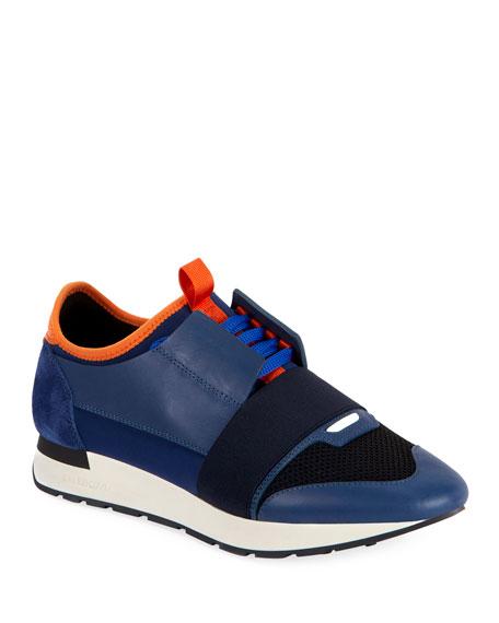 Balenciaga Men's Race Runner Mesh Sneakers