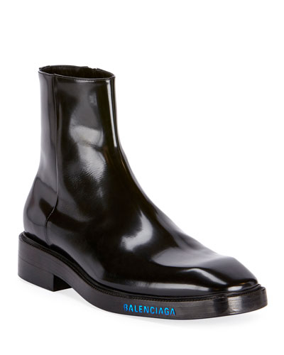 Men's Patent Leather Curve Boots w/ Stamped Logo