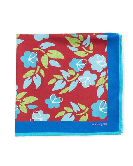 Kiton Men's Floral-Print Pocket Square, Red/Aqua