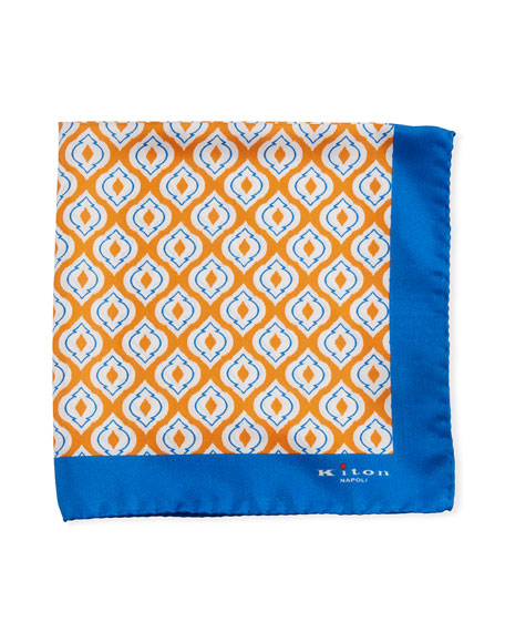 Kiton Fancy Ovals Silk Tie, Orange