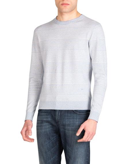Isaia Sweaters MEN'S COTTON-CASHMERE STRIPED CREWNECK SWEATER