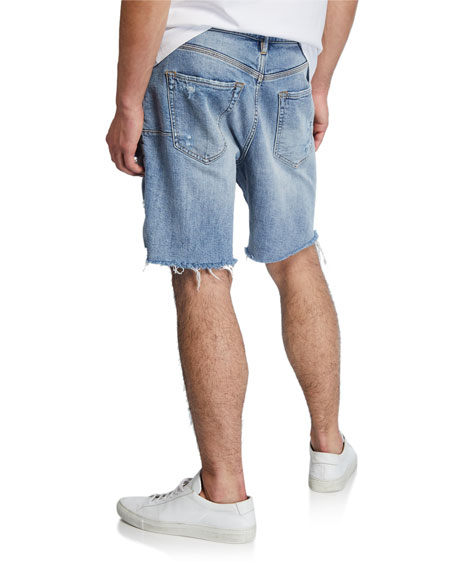 PURPLE Men's Relaxed-Fit Destroyed-Denim Shorts