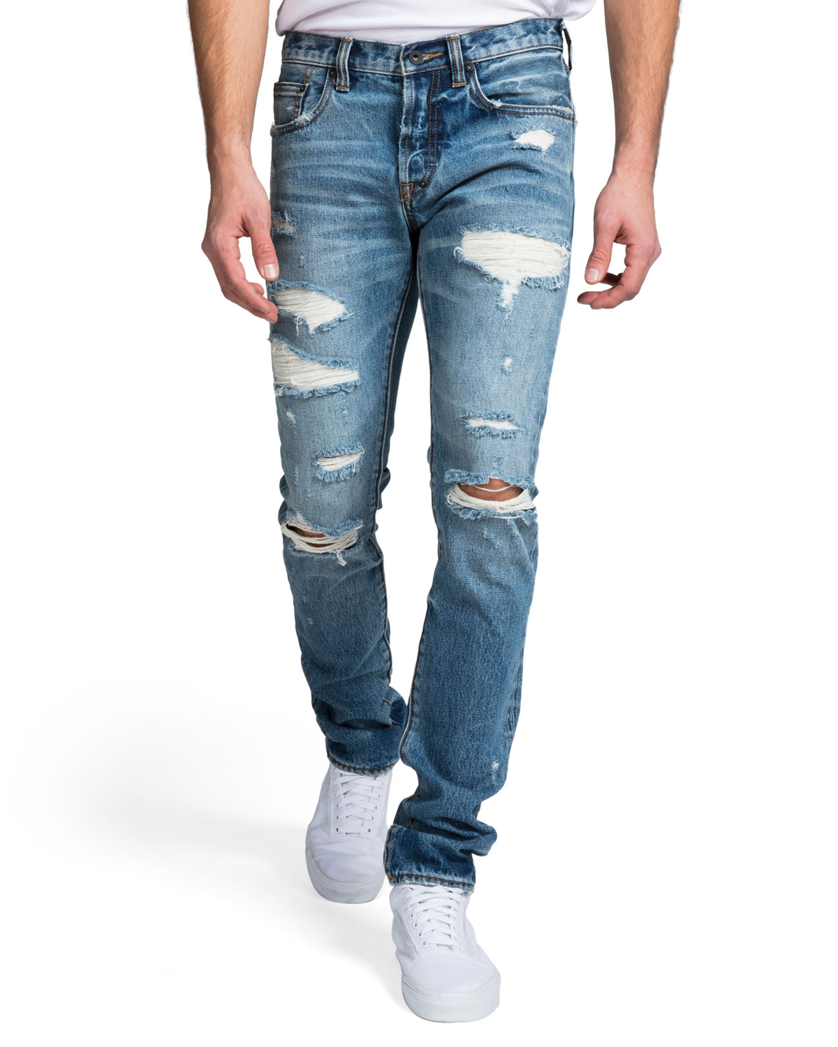 PRPS Men's Slim-Fit Medium Wash Abrasion Denim Jeans