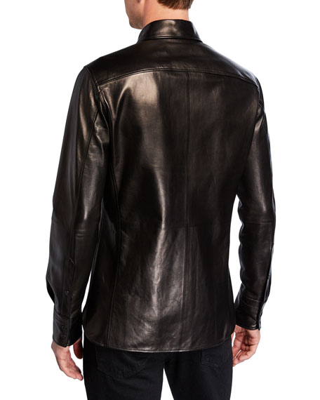 TOM FORD Men's Leather Button-Front Shirt