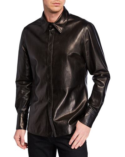 Men's Leather Button-Front Shirt