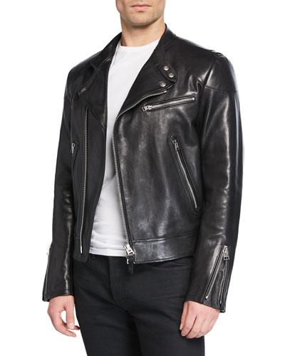 Men's Short Leather Biker Jacket