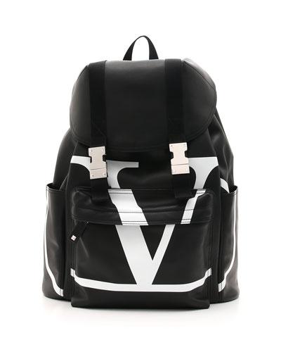 Men's VL Logo-Front Leather Backpack