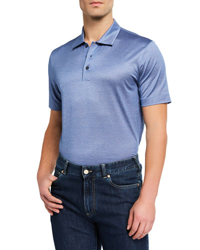 Men's Yarn-Dyed Lisle Polo Shirt  Blue