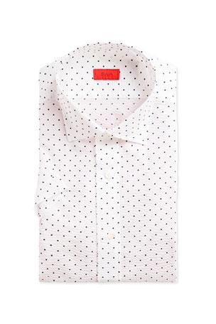 Isaia Men's Short-Sleeve Dotted Seersucker Sport Shirt