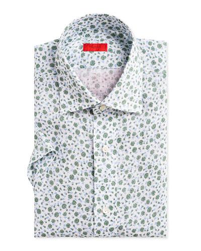 Men's Two-Tone Floral-Print Short-Sleeve Sport Shirt