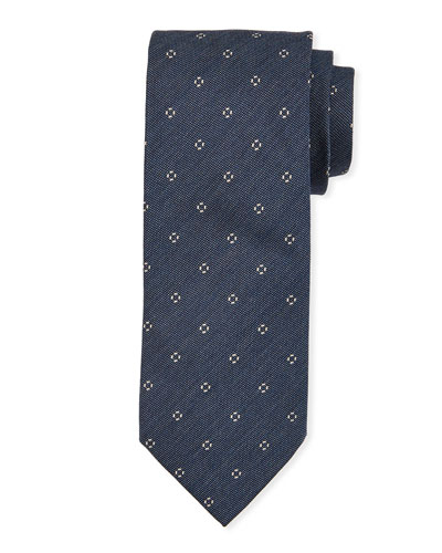 Small-Circle Silk Tie  Dark Blue