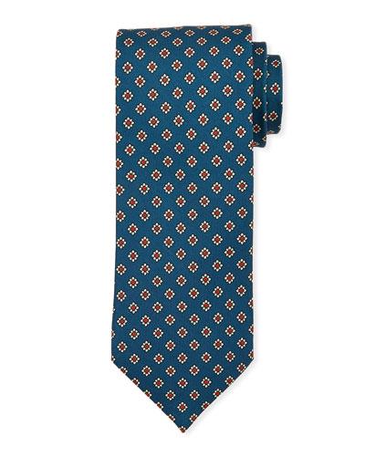 Medium-Flower Silk Tie  Teal