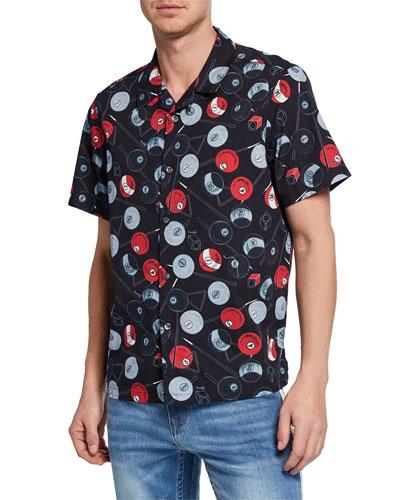 Men's Billiard Short-Sleeve Sport Shirt