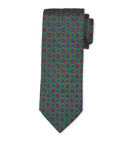 Medallion Silk Tie  Green