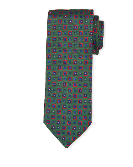 Bigi Ties MEDALLION SILK TIE, GREEN