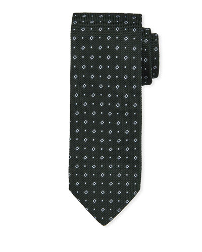 Small Square Silk Tie  Green