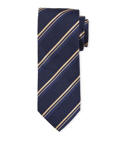 Thin Stripe Silk Tie  Navy