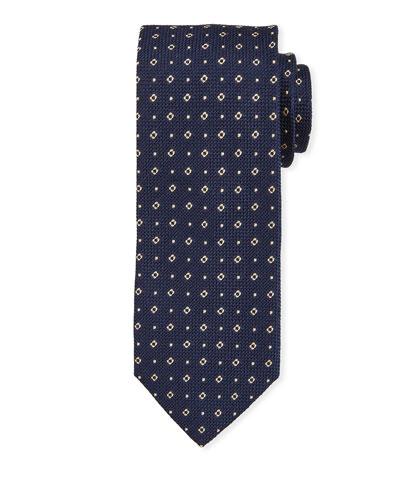 Small Square Silk Tie  Navy