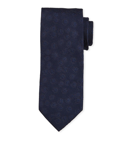 Tonal Floral Silk Tie  Navy