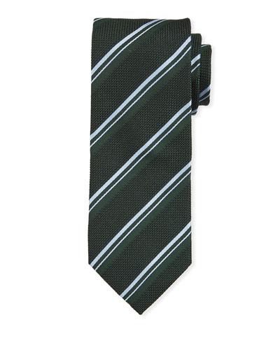 Thin Stripe Silk Tie  Green